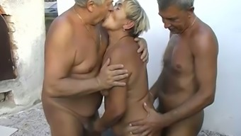 Threesome with old plump granny and her old drinkers outdoor