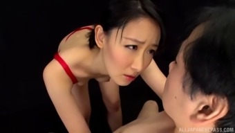 awesome from asia model in lingerie giving prick blowjob