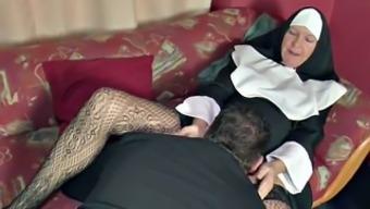 German MILF Nun get fucked via the Pastor in Community center