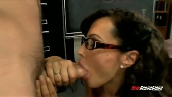 Distorted sey teacher in glasses Ms weis Ann gives remarkable blowjob to one perverted apprentice