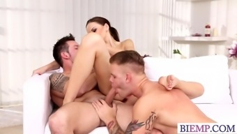 Heated wife posses her enthusiast with her hubby