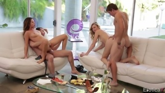Dual courting hotties have an exotic foursome having their men