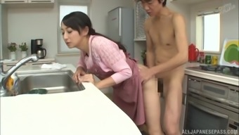 Warm kitchen sexual intercourse workout with wonderful Japanese people damsel Takita Eriko
