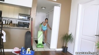 latina maid with a great ass julianna vega cleaning filthy residence
