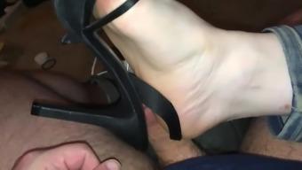 Divinity Tease, Squash & Shoejob in Dark colored High heel sandals