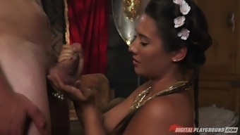 gorgeous country girl eva lovia blows a chief off