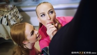 Kayla Grains and Ella Hughes join forces and get a threesome in a the kitchen
