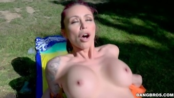 Inked attractiveness by using juicy boobs Monique Alexander handles layer of fat puncture