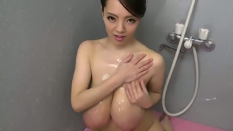 Big tits asian coconut oil massage session