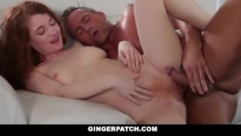 GingerPatch - Lean Brunette Gets Fucked While learning