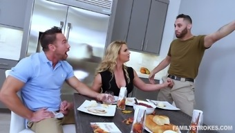 Macho playful wifey Chandler az Marie entices hubby's close friend for MMF 3some