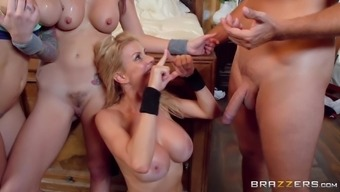 Rachel Starr and Monique Alexander attract a couple and fuck along with them