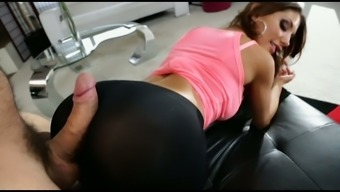 Wild dude takes beautiful March Ames's pants and fucks her wet pussy