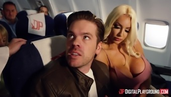 Aletta Sea and Nicolette Shea enjoy major cocks on an airplane