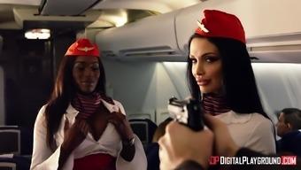 Aletta Sea and Nicolette Shea enjoy major cocks on an airplane