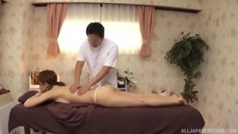 Japanese people model with an moving human body gets an sexual massage session