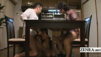Subtitled nudist Japanese maid supper time blowjobs