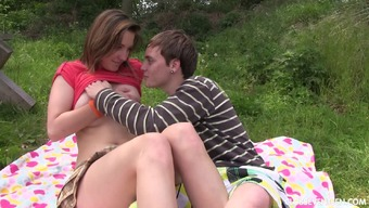 Horny young adult gets creampied after the hardcore hitting outdoor