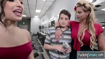 Chandler az and Abella fuck bloke in threesome