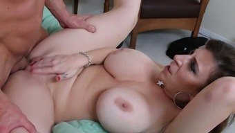 Turned on blonde mother by using large boobs Sara Jay gets drilled complicated