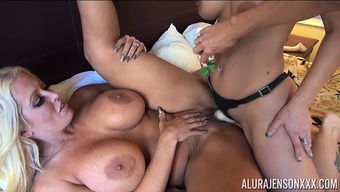 About three Hot Major Tit Girl Lesbian Performance by using Alura Jenson