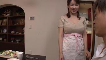 Big tits Japanese people homemaker gives an sexual titjob and blowjob