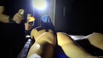 Busy young adult in the bedroom BDSM mouth fucking pussy slap