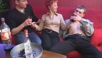 In party a redheaded MILF gains four fellas at once