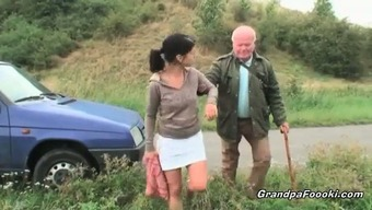 Cute dame seduces grand father on the highway
