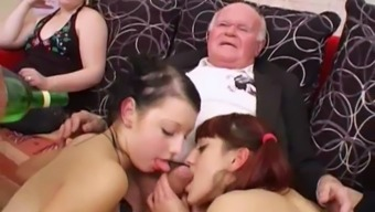 Younger girls dance for grand father before suck his junk
