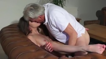 Old and Young Porn - Nanny pussy fucked by old one and swallows cum