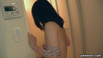 Extremely gorgeous young adult fucks and effect her one inside the wash room