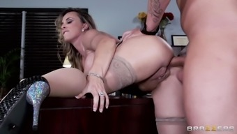Big tits desk staff gets rammed in the office