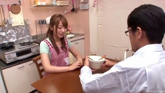 Co-working Oriental girls get into the wash room for many lesbian enjoyable