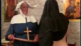 Nasty nun gets her rear end spanked within the parody intercourse video