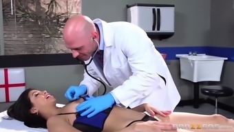 Getting her soaked wet pussy tested for the doctor's place of work