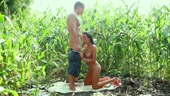 Mia Manarote is ready for a sex appointment in a corn arena