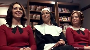 Sexy nun manipulates two different attractive girls in class identical