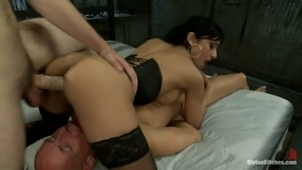 Guy Gets Booty Fucked by Brunette's Strapon and Gets Skin from different Stud