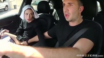 Slutty dim haired nun gives clammy profound your throat to actually her good friend in automobile
