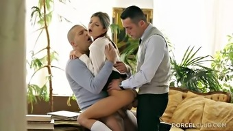 Twofold pepping up her wet youngster fuck cracks inside a threesome
