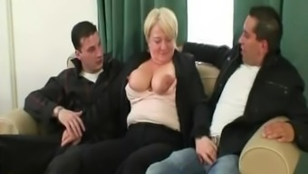 Sizzling threesome with the use of totally intoxicated granny