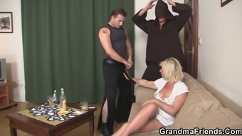 Threesome fucking along with old spiteful lady