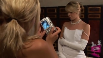 Lena Nicole seduces a gorgeous future bride to be within a bridal dress