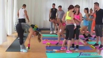 Naughty lesbian tramps some kind of toy one other after this type of fitness lesson