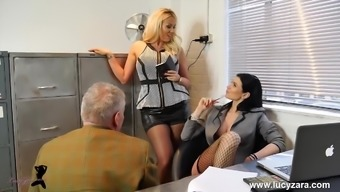 Attractive managers transform place of work perv into nylon leg devotion victim