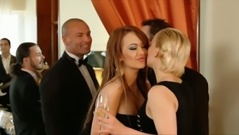 Light and brunet women show success dirty foursome love-making