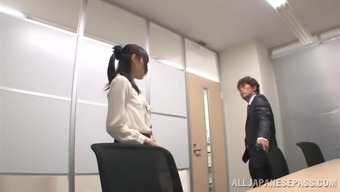 Splendid Japanese people cowgirl moaning as she gets missing in the office