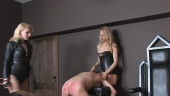 Two different black mistresses whipping mens person who serves 01