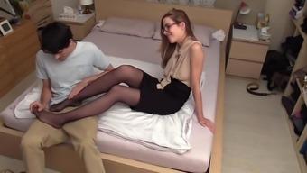 Heated young adult optimal stockings footjob